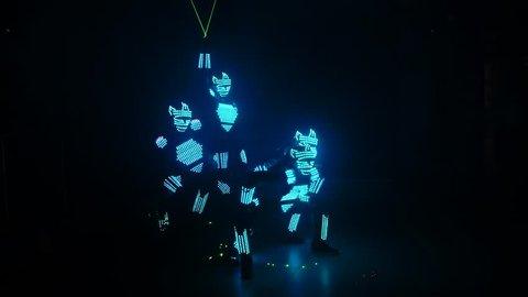 LED show. Dancing robots