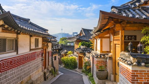 Timelapse at Seoul City,Bukchon Hanok Village, Seoul, South Korea, 4K Time lapse