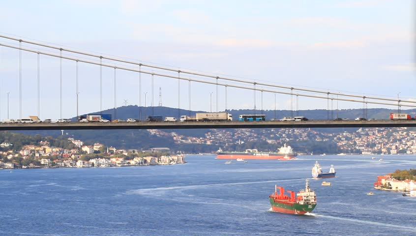 Very heavy traffic both in Bosporus as well as on the bridge in Istanbul,