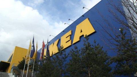 GENEVA - 11 MARCH 2013 : Sequence of few shots of IKEA store in Vernier (Geneva, Switzerland).