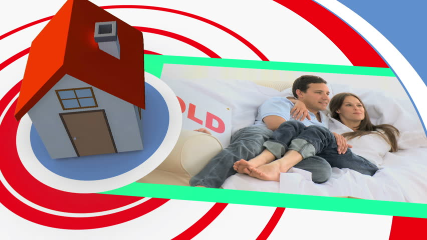 Moving home montage on spiral background with 3d house graphic