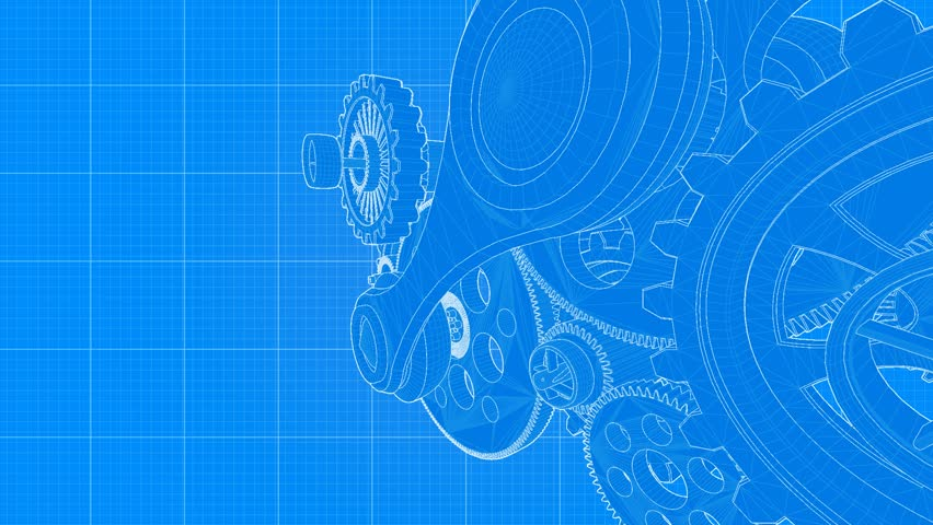 Hand drawn metal gear wheels rotating on the blueprint paper seamless industrial gear blueprint blue version part of a series hd stock footage malvernweather Choice Image