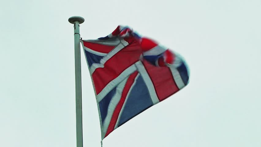 Flag Flying In A Strong Wing - Union Jack of Great Britain - Victoria Park, Stafford, England