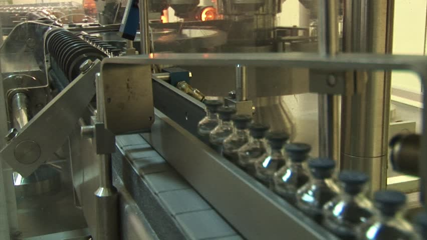 Automated production of medicines. Filling drug vials. Movement on the