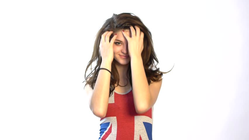 HD1080p25 Sexy woman looking, posing in union jack shirt