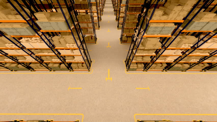 Warehouse interior 3d loopable animation. Camera is moving forward. | Shutterstock HD Video #3633023