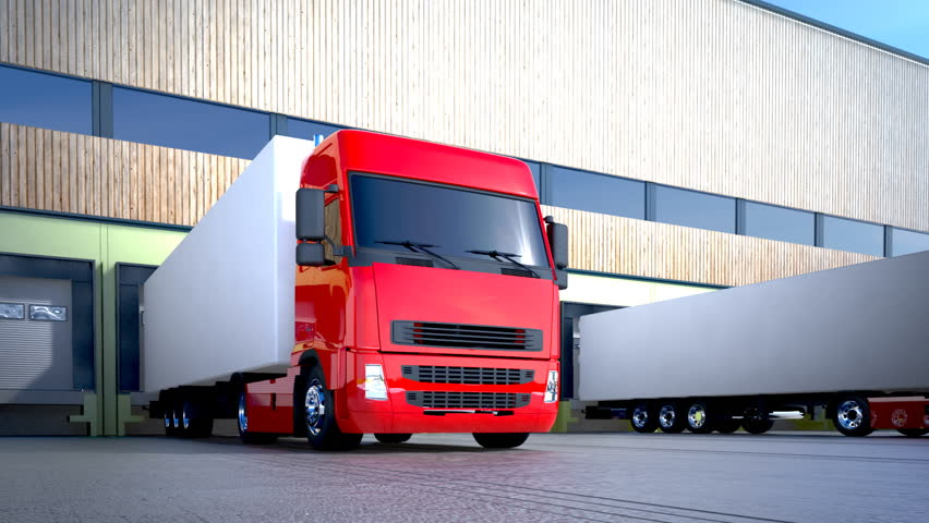 3d animation of unloading cargo from truck to warehouse.