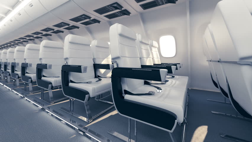 Comfortable seats in airplane. CG animation.