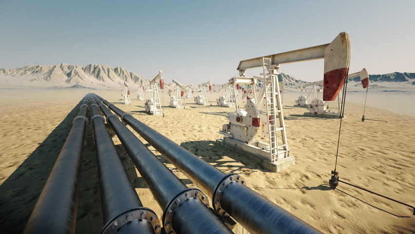 Oil pump jack rocking with pipeline in the background. Loopable animation.