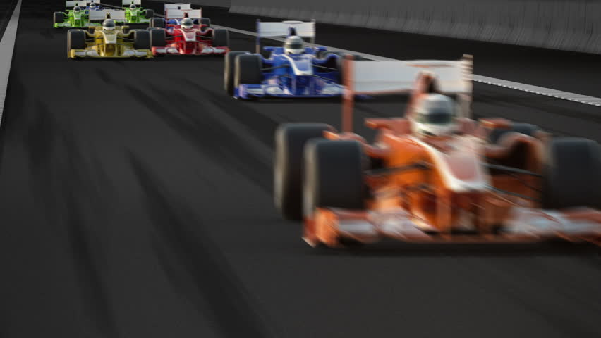 Generic looking F1 cars racing. High speed racing is always exciting, best of the best world's drivers competing with each other in extreme fast pace racing. Video can be allegory for winning