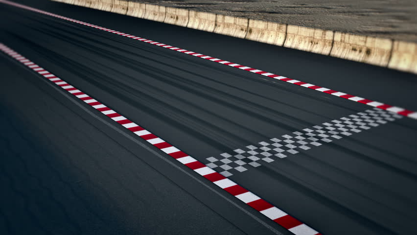 Waving Race Checkered Flag In Race Track Stock Footage
