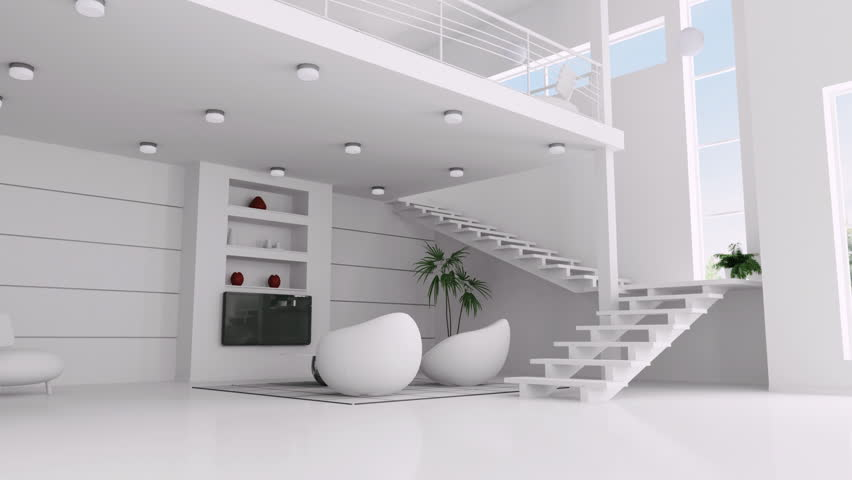 Modern interior of white apartment animation