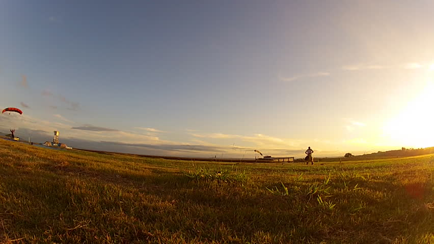 Skydive landing at sunset