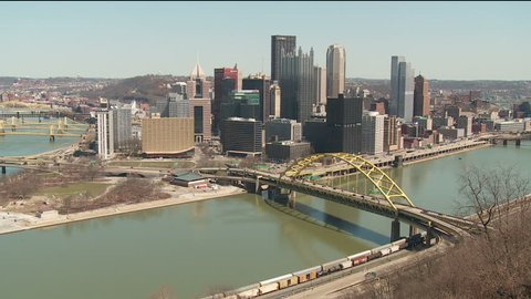 The downtown area including the skyline, bridges, and Point State Park at the confluence of the Allegheny and Monongahela Rivers in Pittsburgh, Pennsylvania.
