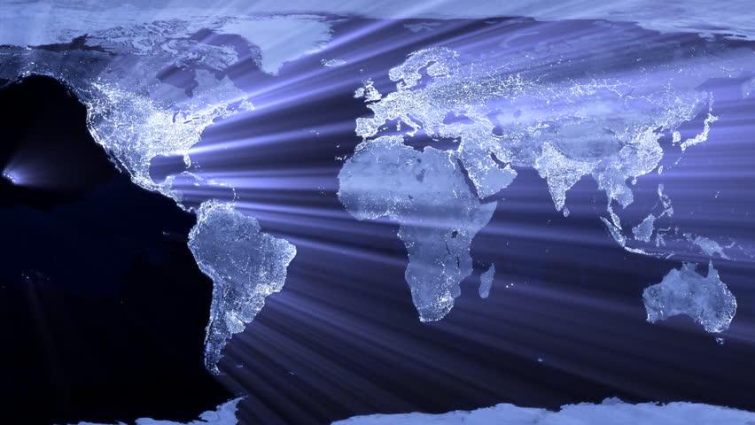 world map glowing