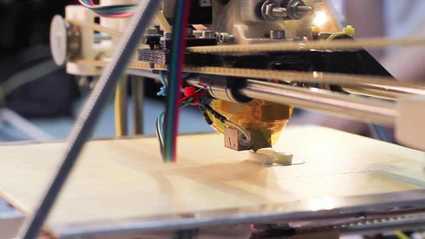 Three dimensional printer during work in school laboratory, 3D plastic printer, 3D printing   Shutterstock HD Video #3704798