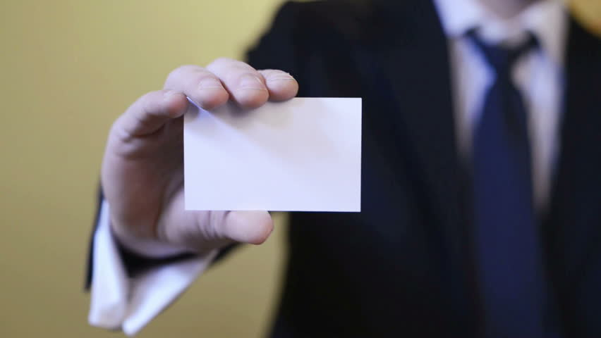 Businessman Showing Blank Business Card Stock Footage Video 100