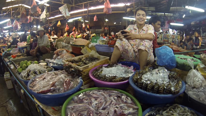 SIEM REAP - FEB 2: Indoor Fish market in Siem Reap Cambodia on February 2nd  2013