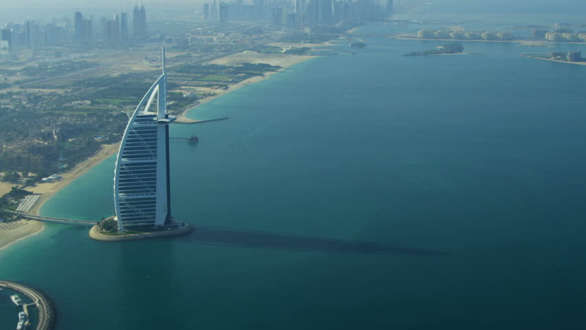 DUBAI, UNITED ARAB EMIRATES - NOVEMBER 18, 2012:  Aerial view Burj Al Arab hotel artificial Island created from land