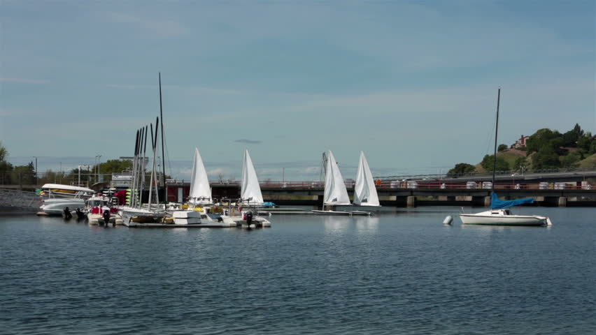 Sailboats recreation Folsom Lake Sacramento California. Recreation facility on Folsom Lake near Sacramento California. Water reservoir formed by Nimbus Dam across the American River. Sailboat fun.