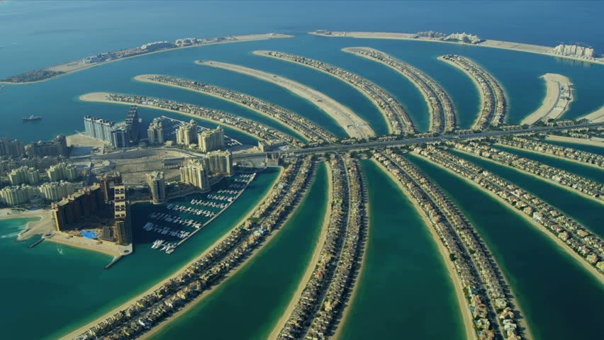 Aerial view of Luxury Shopping Centre, Golden Mile, Palm Jumeirah, Dubai, UAE, RED EPIC | Shutterstock HD Video #3730241