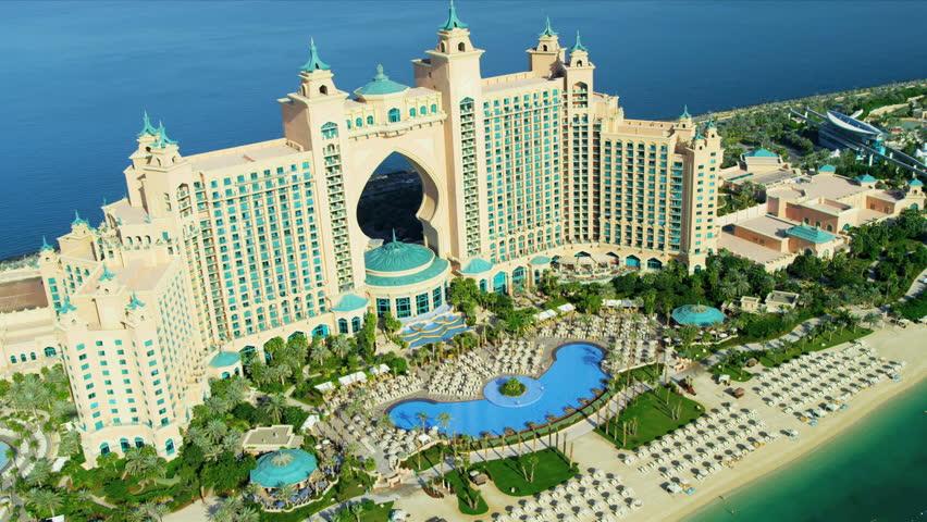 DUBAI - NOV 18: Aerial view Palm Atlantis on Palm Jumeirah, Dubai November 18, 2012 RED EPIC