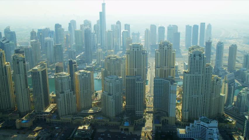 Aerial view Dubai Marina, Jumeirah Beach Residence, Marina Beach, UAE, RED EPIC #3731228