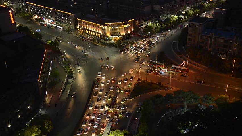 High-altitude city night scene | Shutterstock HD Video #3734201
