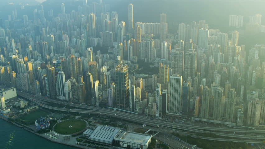 Aerial view of causeway highway and Hong Kong city skyscrapers, Victoria Harbour, China, Asia, RED EPIC | Shutterstock HD Video #3741065