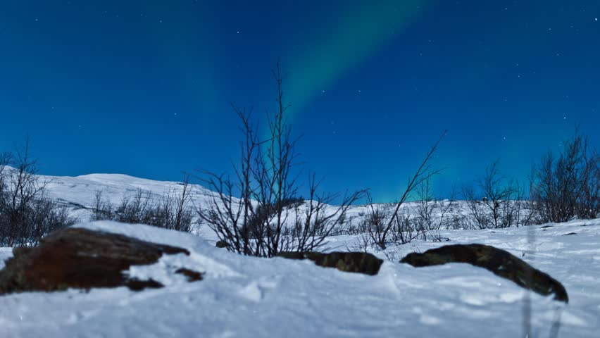 Northern Lights (Aurora Borealis) panning time-lapse in North of Norway
