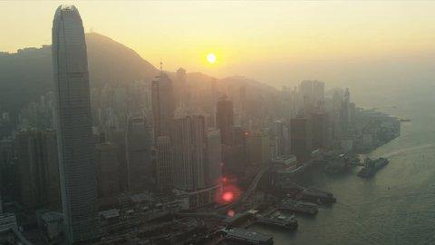 Hong Kong - November 25: Aerial sunset view of 2 IFC Victoria Peak, Hong Kong Island, Hong Kong, Asia, RED EPIC