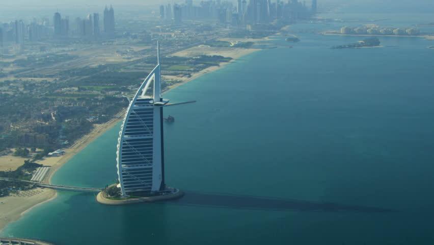 DUBAI, UAE - November 18, 2012:Aerial view Dubai coastline, Burj Al