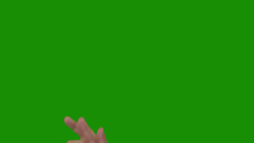 "Green background (Chroma Key). Men's hand in a white shirt is showing the sign ""OK"" (all right) #3746708"