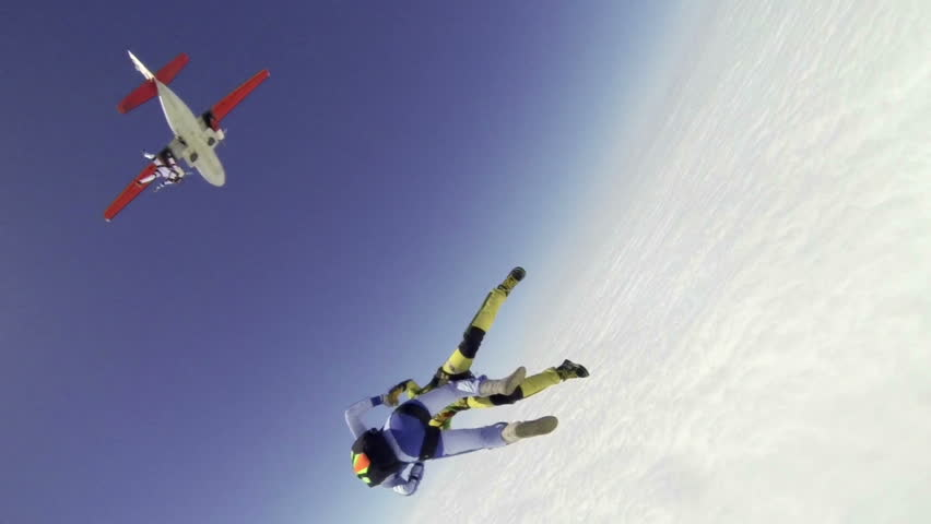 Skydiving video slow-motion.