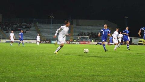 RIJEKA, CROATIA APRIL 6: soccer match: NK Rijeka (white) vs. NK Osijek (blue) on April 6, 2013 in Rijeka
