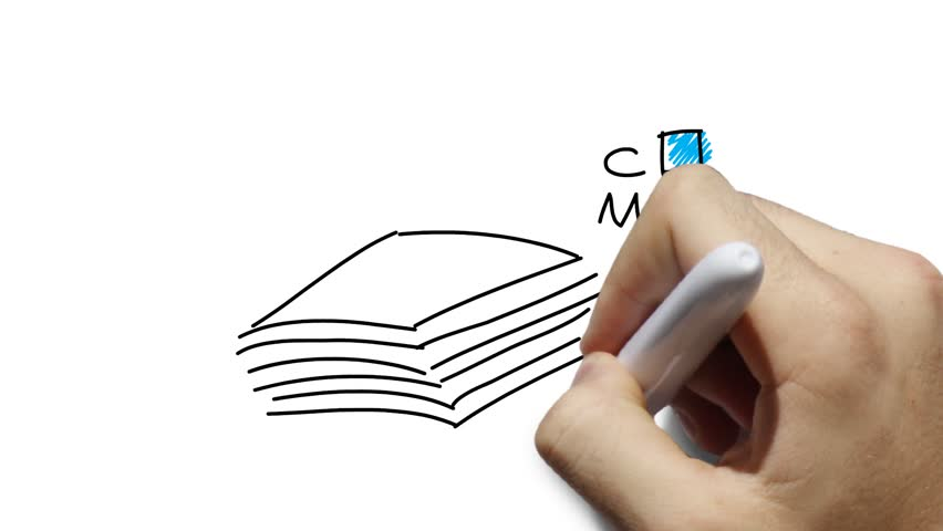 CMYK - print industry symbols - printed documents - simplified stylized hand drawn line art - whiteboard animation, white and green background.  | Shutterstock HD Video #3799388