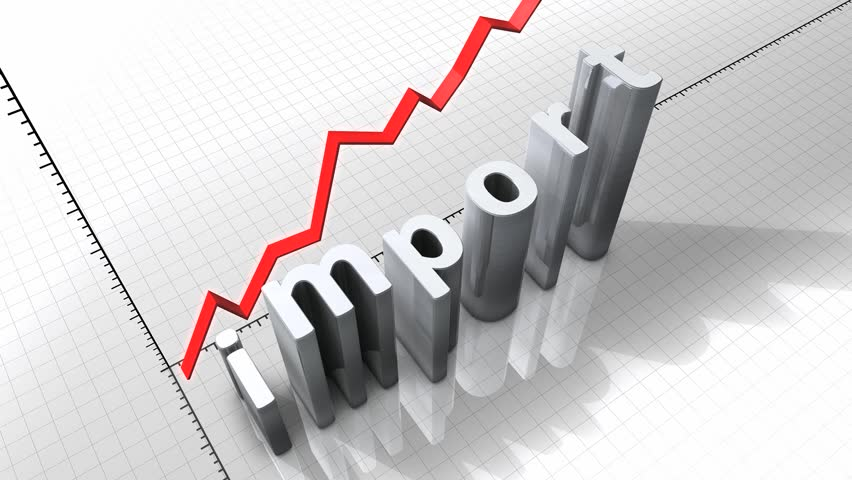 Growing chart graphic animation, rising Import.