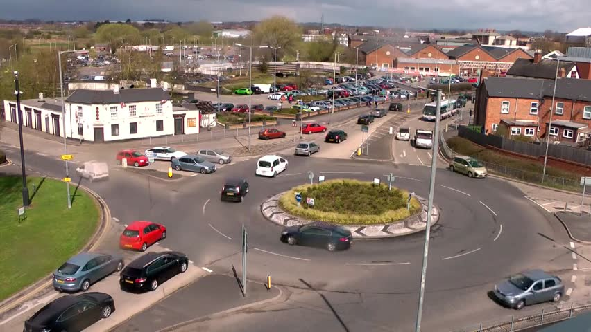 Busy Traffic at a Roundabout - Broadeye Roundabout, Stafford England