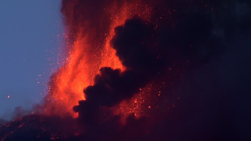 Mt Etna volcano erupting
