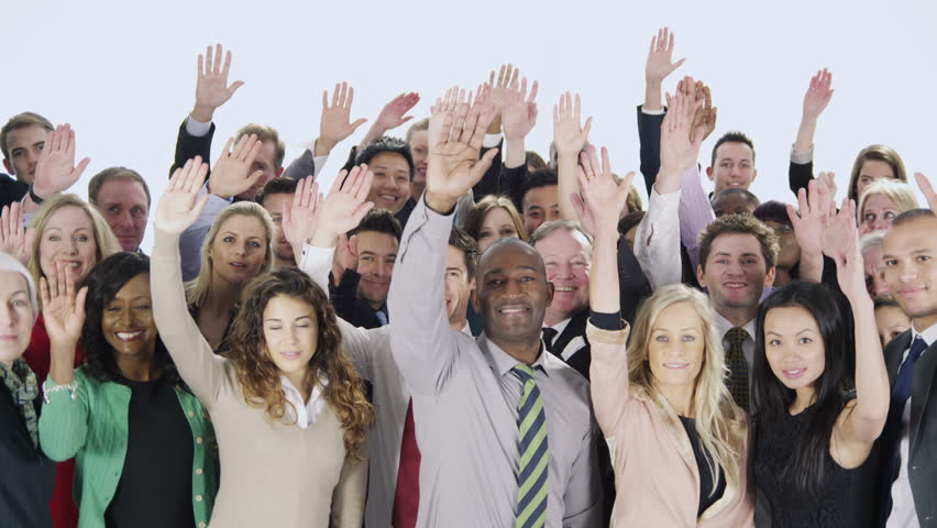 Portrait of a large group of happy and diverse business people who are standing together, isolated on white. They raise their arms in the air to indicate their willingness to succeed. In slow motion. #3823478
