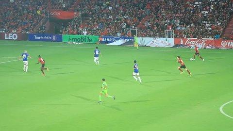 NONTHABURI, THAILAND- APRIL 28 : Toyota Thai Premier League 2013 Between Muangthong Utd (R) VS Changrai Utd (B) on April 28, 2013 at SCG Stadium, Bangkok,Thailand
