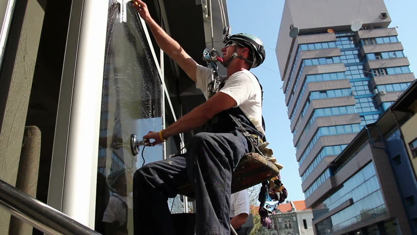 Window Washers on a Office Building.