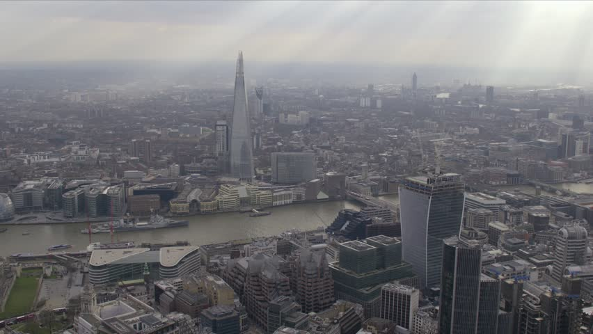 Aerial panorama of central London along the River Thames