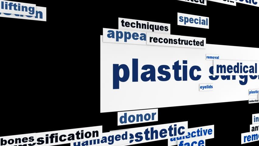 Plastic surgery message conceptual design. Cosmetic surgery medical message concept