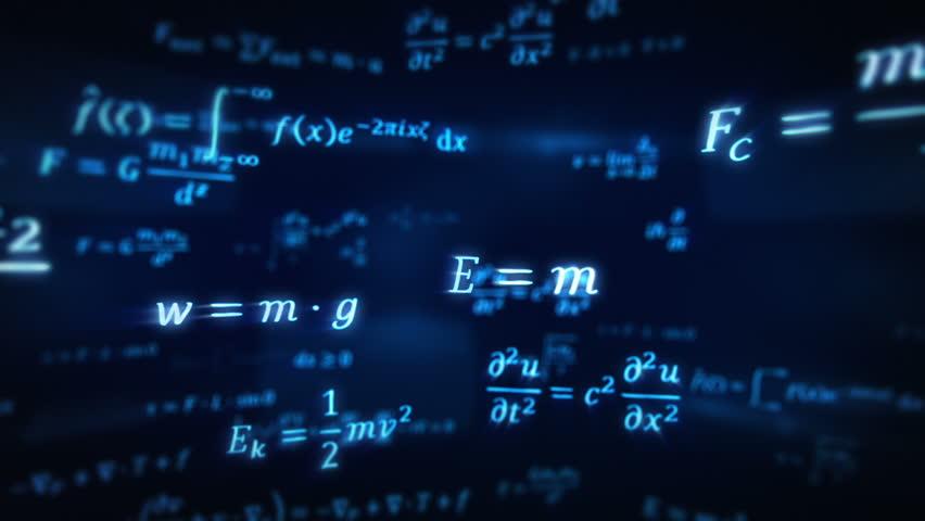 Physics formulas. Loopable. 360. Blue. Flying through different physics formulas.