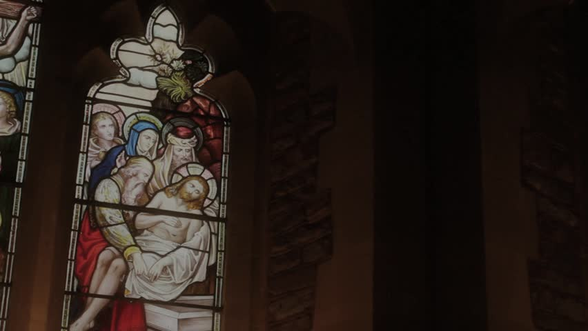 Stained Glass Window in Church - Religion, Worship - Panning Shot