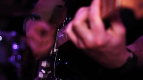 Electric Guitar Playing, Pull Focus - Rock Concert, on Stage