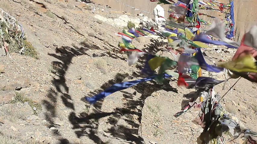 Tibetan flags with shadow