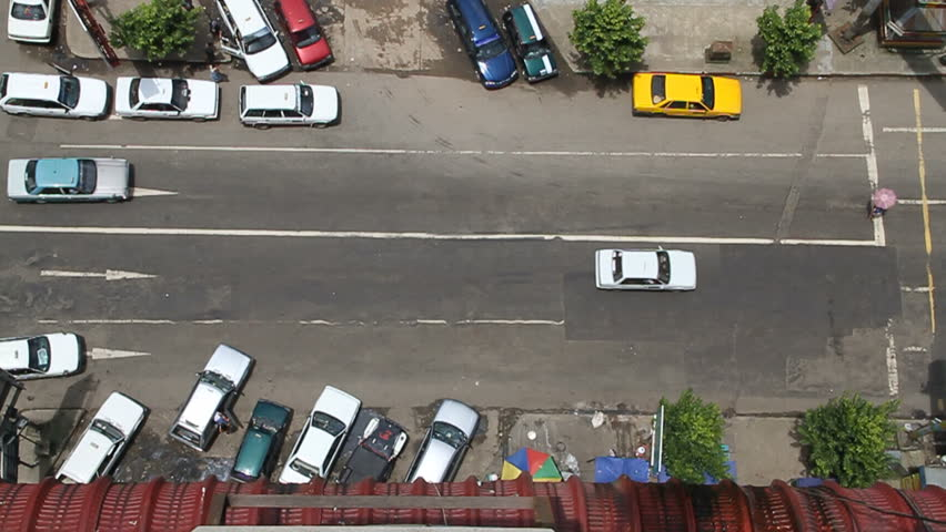 Light traffic in downtown Yangon (Rangoon) from overhead. Motorbikes are prohibited in Yangon, making traffic very light. August, 2012.