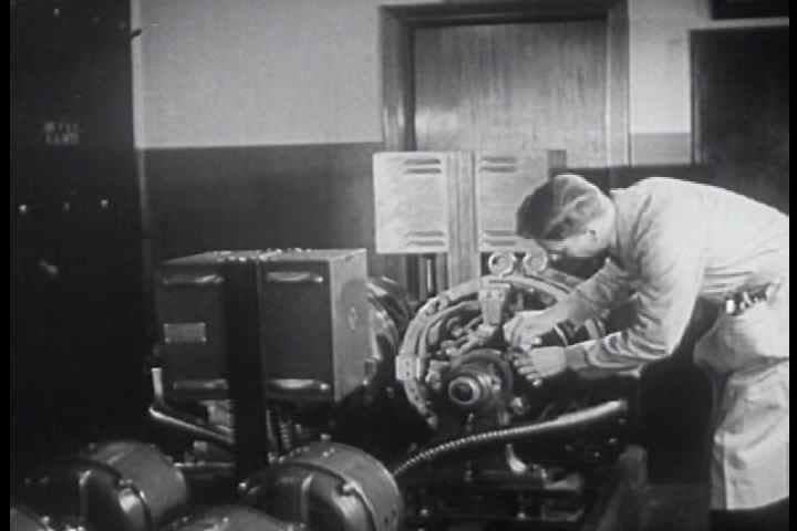 1940s - The range of positions available in the field of radio is shown, from engineering to production, repair and sales.